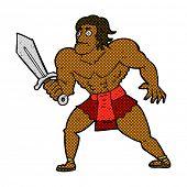 retro comic book style cartoon fantasy hero man