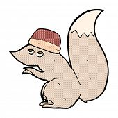 retro comic book style cartoon squirrel wearing hat
