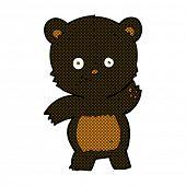 retro comic book style cartoon waving black bear