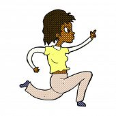 retro comic book style cartoon woman running and pointing