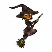 retro comic book style cartoon witch riding broomstick