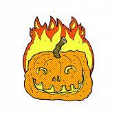 retro comic book style cartoon burning pumpkin