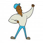 retro comic book style cartoon man striking heroic pose