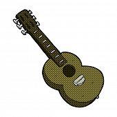 retro comic book style cartoon guitar