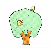 retro comic book style cartoon tree with birdhouse