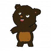 retro comic book style cartoon cute waving black bear teddy