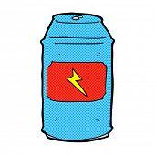 retro comic book style cartoon beer can