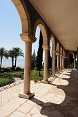image of beatitudes  - Roman Catholic chapel at Mount of Beatitudes near Lake Kinneret Israel - JPG