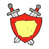 retro comic book style cartoon shield and swords