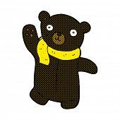 stock photo of cute bears  - cute retro comic book style cartoon black teddy bear - JPG