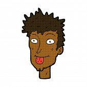 retro comic book style cartoon man sticking out tongue