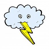 retro comic book style cartoon lightning bolt and cloud