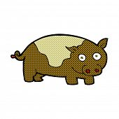 retro comic book style cartoon pig