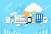 Computer device data cloud storage security flat design