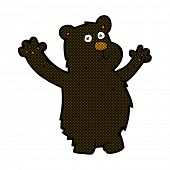 retro comic book style cartoon funny black bear
