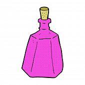 retro comic book style cartoon potion bottle