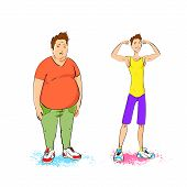 fat overweight and fit athletic sport man show bicep muscles fitness trainer isolated over