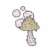 retro comic book style cartoon weird mushroom