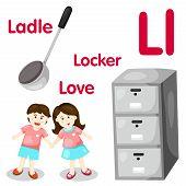 pic of ladle  - Illustrator of L alphabet with ladle - JPG