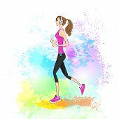 sport woman run with fitness tracker on wrist girl runner jogging over paint splash background train