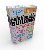 picture of clientele  - Relationship Building words on a product or package to help you grow your business through networking and attracting new customers - JPG