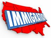 Immigration 3d word on red map of United States of America illustrating reform in status for legal residency or citizenship for aliens
