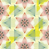 Colorful Linear Floral Seamless Pattern