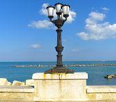 Characteristic lampposts of the promenade of Bari.