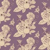 picture of antlers  - elegant seamless pattern with deer antlers and roses over purple - JPG