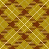 Seamless yellow and brown diagonal plaid vector pattern.