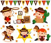 picture of cowboy  - a vector set of a cowboy child - JPG