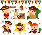 pic of cowboys  - a vector set of a cowboy child - JPG