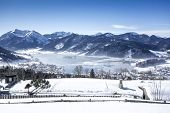 An image of the Schliersee at winter in Bavaria Germany
