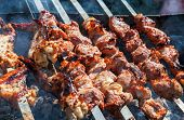Appetizing grilled shashlik on metal skewers outdoors at picnic