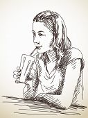 Sketch of drinking woman Hand drawn illustration