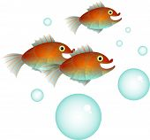 stock photo of shoal fish  - A small shoal of cartoon fish with bubbles - JPG