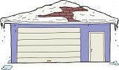 Isolated Garage And Door With Snow
