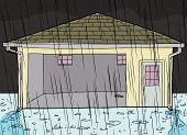 Rain Falling On Garage With Doorway