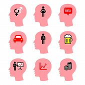 Head, man thoughts vector icons set