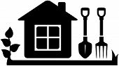 gardening tools icon with garden house