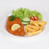 Schnitzel With French Fries And Salad On Plate