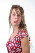 A Young Woman Makes A Grimace