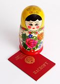 Russian Nesting Doll Standing On Soviet Union Ussr Passport