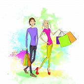 shopping couple man and woman with bags over colorful splash