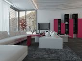 3D Rendering of Close up Full Furnished Architectural Living Room Design with Dark Pink and White Furniture.