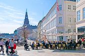 Denmark. Copenhagen. Open air cafe in the center of the city