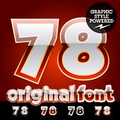 Vector set of original glossy white alphabet with gold border. Numbers 7 8