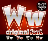 Vector set of original glossy white alphabet with gold border. Letter W