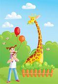 image of zoo  - girl with her dad meeting giraffe in the zoo - JPG