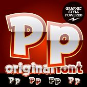 Vector set of original glossy white alphabet with gold border. Letter P